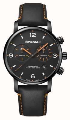 Wenger | Urban Metropolitan Chrono | Black Leather | Black Dial | 01.1743.114