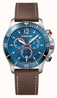Wenger | Seaforce Chrono | Brown Leather Strap | Blue Dial 01.0643.116
