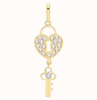 Treasure House 9ct Yellow Gold Cubic Zirconia Heart Lock And Key Pendant Only PN1126