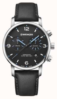 Wenger | Urban Metropolitan Chrono | Black Leather | Black Dial | 01.1743.120