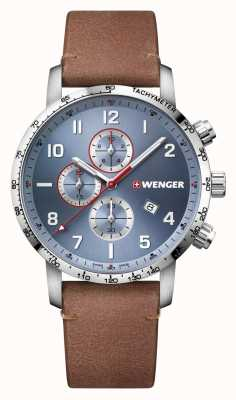 Wenger | Attitude Chrono | Brown Leather Strap | Blue Dial 01.1543.114