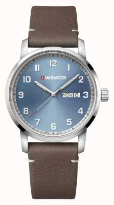 Wenger | Attitude | Brown Leather Strap | Light Blue Dial 01.1541.118