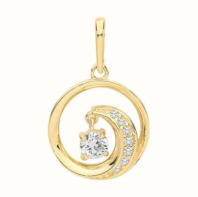 Treasure House 9ct Yellow Gold Circle Swirl Cubic Zirconia Pendant Only PN1140