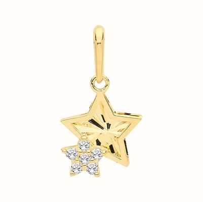 Treasure House 9ct Yellow Gold Double Star Cubic Zirconia Pendant Only PN1142