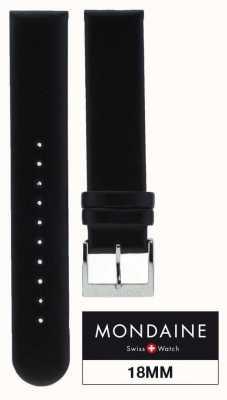 Mondaine 18mm Genuine Leather Strap Black Stitching|Red Stitch Keeper FE311820Q5