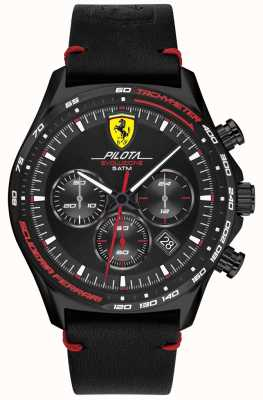 Scuderia Ferrari | Men's Pilota Evo | Black Leather Strap | Black Dial 0830712