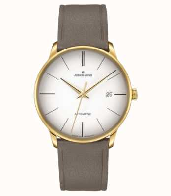 Junghans Meister Automatic Brown Leather White Dial PVD gold Plated 027/7052.00