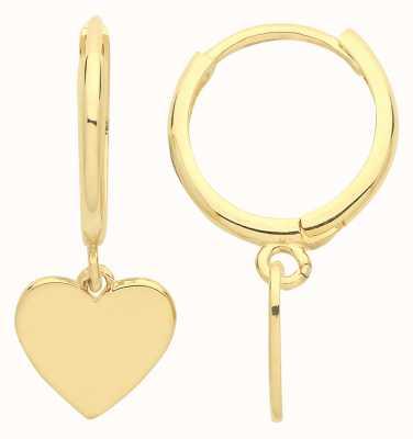 James Moore TH 9ct Gold Heart Drop Hoop Earrings ER1175