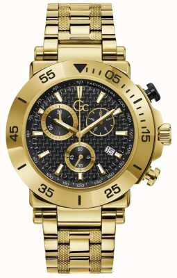 Gc Men's | Chronograph | Gold PVD Plated | Black Dial Y70004G2MF