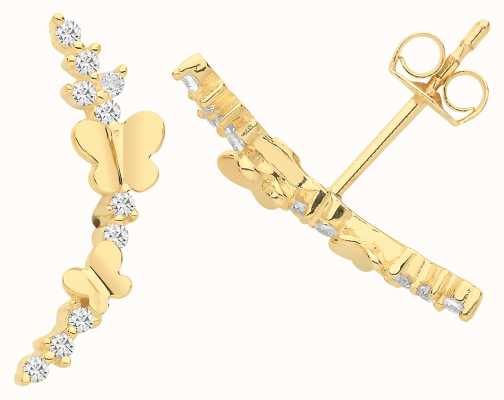 James Moore TH 9ct Gold Butterfly Cz Stud Earrings ES1655