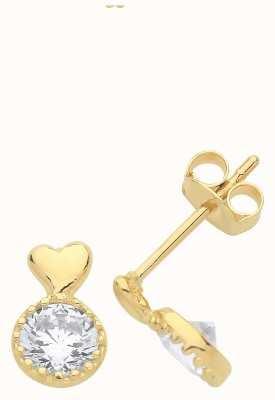 James Moore TH 9ct Gold Cz Heart Drop Stud Earrings ES1603
