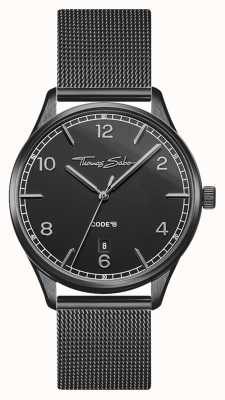Thomas Sabo | Glam And Soul | Women's Black Mesh Bracelet | Black Dial WA0362-202-203-36