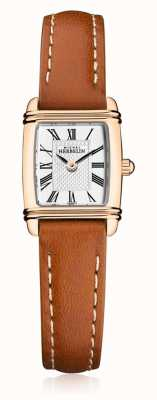 Michel Herbelin | Women's Brown Leather Strap | Silver Rectangle Dial | 17438/PR08GO