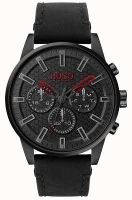HUGO | #SEEK | Black Leather Bracelet | Black Dial | 1530149