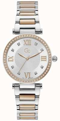 Gc Women's LadyCrystal | Two-Tone Steel Bracelet | Silver Dial Y64001L1MF