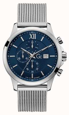 Gc | Men's Executive | Silver Mesh Bracelet | Blue Dial | Y27005G7MF