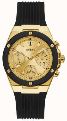 Guess | Women's Athena | Black Rubber Strap | Gold Dial | GW0030L2