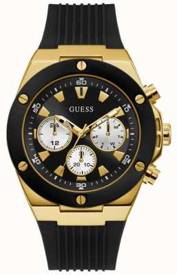 Guess | Men's Poseidon | Black Rubber Strap | Black Dial | GW0057G1