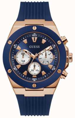 Guess | Men's Poseidon | Blue Rubber Strap | Blue Dial | GW0057G2