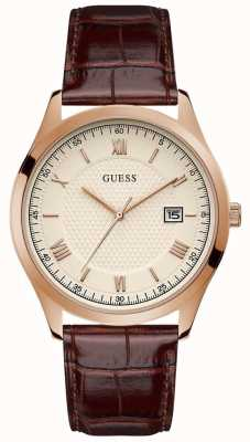Guess | Men's Element | Brown Leather Strap | Beige Dial | GW0065G1