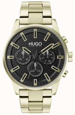 HUGO #SEEK | Gold Stainless Steel Bracelet | Black Dial | 1530152