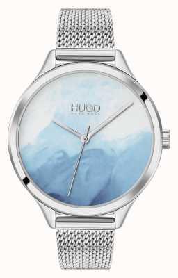 HUGO #SMASH | Blue Blush Dial | Stainless Steel Mesh 1540061