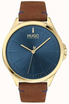 HUGO #SMASH | Blue Dial | Brown Leather Strap 1530134
