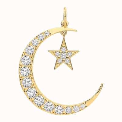 Treasure House 9ct Yellow Gold  Moon And Star Cubic Zirconia Drop Pendant Only PN1177