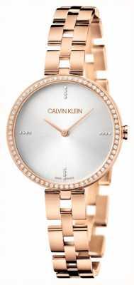 Calvin Klein Elegance | Rose Gold Stainless Steel Bracelet | Silver Dial KBF23X4W