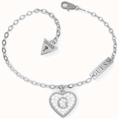 Guess GShine | Stainless Steel Crystal Heart Charm Bracelet UBB79062-L