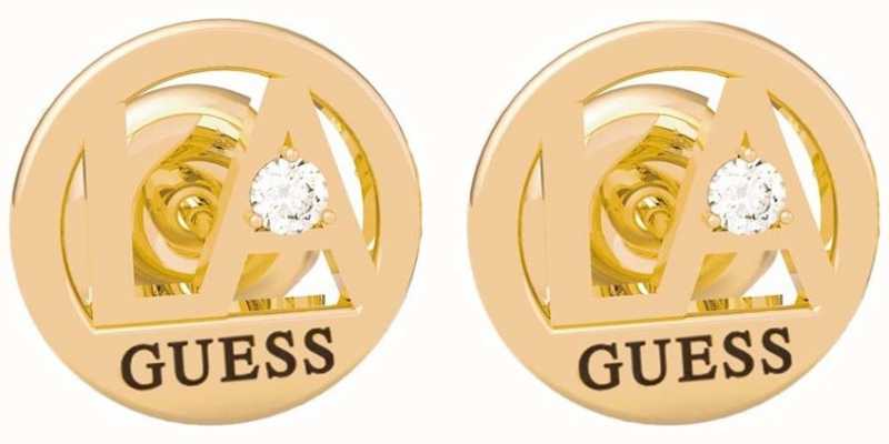 Guess LA | Gold PVD Stainless Steel Round Stud Earrings UBE79052
