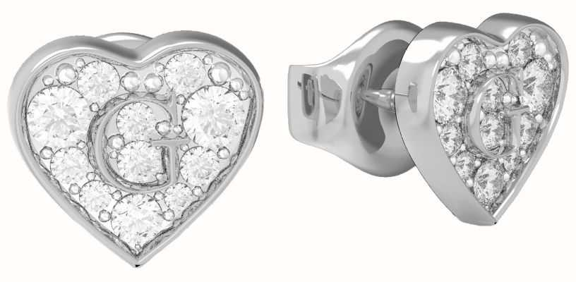 Guess GShine | Crystal Set Heart Stud Earrings UBE79072