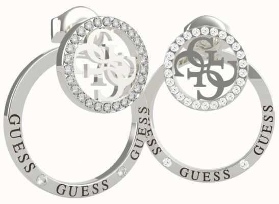 Guess Equilibre | Stainless Steel Crystal Set Stud/Hoop Earrings UBE79095