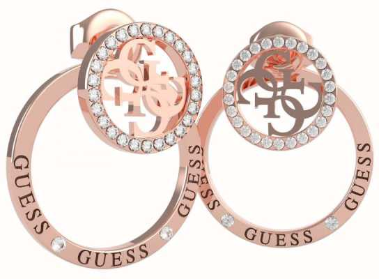 Guess Equilibre | Crystal Set Rose PVD Stud/Hoop Earrings UBE79096