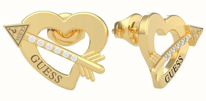 Guess Across My Heart | Gold PVD Heart Stud Earrings UBE79122