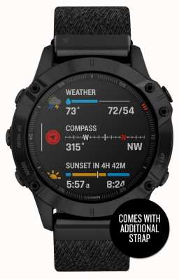 Garmin Fenix 6 Pro Sapphire | Black DLC Nylon Strap and Black Rubber Strap 010-02158-17