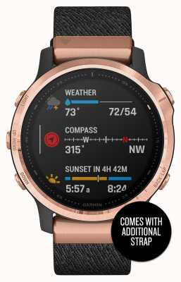 Garmin Fenix 6S Pro Sapphire | Rose-gold Black | Nylon and Black Rubber Strap 010-02159-37