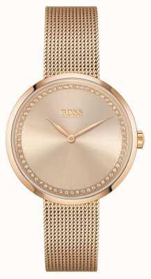 BOSS | Women's Praise |Rose-Gold Steel  Mesh Bracelet | Rose Dial 1502548