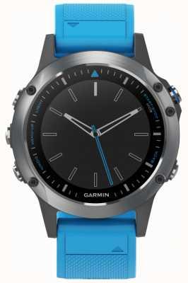 Garmin Quatix 5 | Blue Rubber Strap | Marine Smartwatch 010-01688-40
