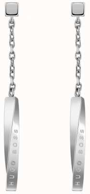 BOSS Jewellery Signature Drop Earring Stainless Steel 37mm 1580008