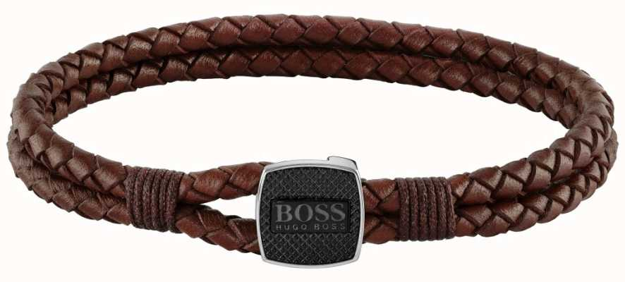 BOSS Jewellery Seal Brown Leather Bracelet 180mm 1580048M