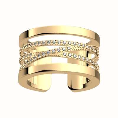 Les Georgettes 8mm Gold Plated Liens CZ Pattern Ring (54) 7032128010854