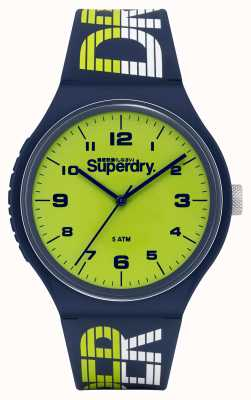 Superdry Urban XL Racing | Navy Silicone Strap | Green Dial SYG269UN