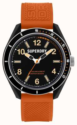 Superdry Osaka Dive | Orange Silicone Strap | Black Dial SYG304O