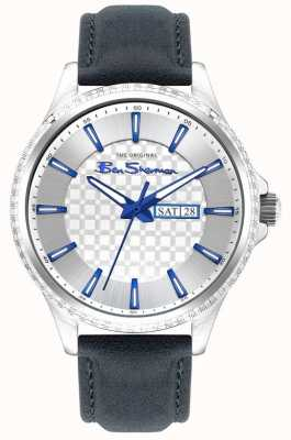 Ben Sherman | Men's Blue Leather Strap | Silver Dial BS029U