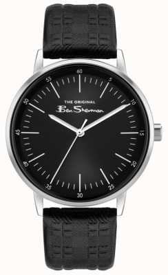 Ben Sherman | Men's Black Check Print Leather Strap | Black Dial BS031BB