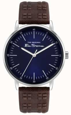 Ben Sherman | Men's Brown Check Print Leather Strap | Blue Dial BS031BR