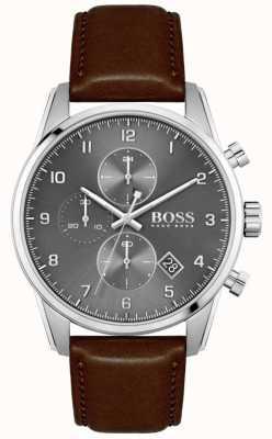 BOSS | Men's Skymaster | Brown Leather Strap | Grey Dial 1513787