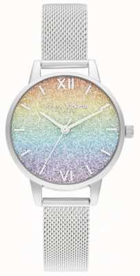 Olivia Burton Women's Silver Mesh Bracelet | Multicoloured Glitter Dial OB16GD69