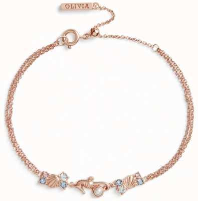 Olivia Burton Seahorse Sparkle Rose Gold Chain Bracelet OBJSCB06